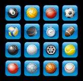 Sports equipment icons. Illustrated sports equipment icons consisting of balls, stopwatch and tire royalty free illustration
