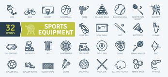 Sports Equipment Icons Pack. Thin line icons set
