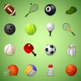 Sports Equipment Icons Set. With team games balls and rackets isolated vector illustration Stock Photography