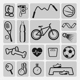 Sports equipment icons Stock Photography