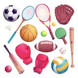 Sports equipment isolate objects. Vector cartoon illustration of football, soccer, tennis, cricket, baseball game