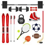Sports Equipment. A large set of sports equipment. Dumbbell, barbell, tennis racket, soccer ball, skis, skates. Flat design, illustration stock illustration