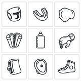 Sports Equipment for martial arts icons set. Vector Illustration. Stock Photos