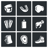 Sports Equipment for martial arts icons set. Vector Illustration. Stock Image