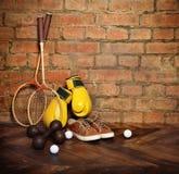 Sports equipment. Near the brick wall.Retro style Royalty Free Stock Photography