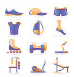 Sports equipment and objects icons Stock Photos