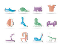 Sports equipment and objects icons Stock Images