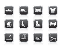 Sports equipment and objects icons Royalty Free Stock Image