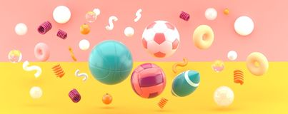 Sports equipment on orange and pink backdrop royalty free illustration