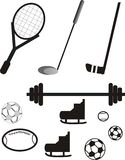 Sports equipment pictogram. Grouping of different equipment used in sports Royalty Free Stock Images