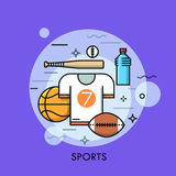 Sports equipment for player, sporting goods and sportswear shop logo Royalty Free Stock Photography