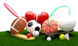Sports equipment. Recreation leisure sports equipment on grass with a football basketball baseball golf soccer tennis ball volleyball cricket skateboard Stock Photography