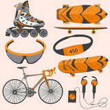 Sports equipment rollerblades, skate, bike, goggles Stock Photography