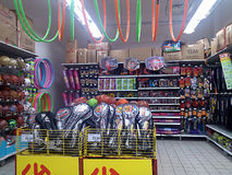 Sports equipment sales, in shopping malls. Shenzhen Futian Carrefour supermarket, sports equipment sales. In China royalty free stock images