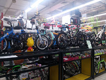 Sports equipment sales, in shopping malls Stock Photos