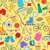 Sports equipment, seamless pattern , simple color icons on yellow background Royalty Free Stock Image