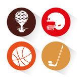 Sports equipment set icons Stock Images