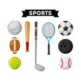 Sports equipment set icons Royalty Free Stock Image