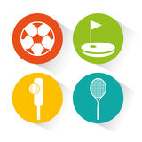 Sports equipment set icons Royalty Free Stock Photography
