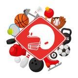 Sports equipment set icons Royalty Free Stock Photos