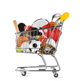 Sports equipment shopping cart Stock Images