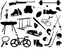 Sports equipment. Silhouettes of sports equipment, collection of equipment of different sports Royalty Free Stock Image
