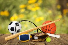Sports equipment. Sport ball equipment football basketball tennis Royalty Free Stock Images
