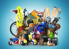 Sports equipment. Has fallen down in a heap Stock Images