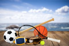Sports equipment. Sport ball equipment football basketball tennis Royalty Free Stock Photo