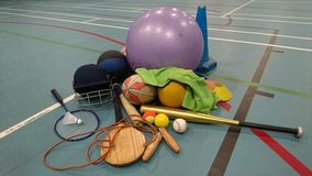 Sports equipment on sportshall floor 2 Royalty Free Stock Images