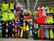 Sports equipment of various sizes and colors at Decathlon. Bucharest, Romania. Decathlon is a manufacturer and distributor of sporting goods, sports equipment royalty free stock photography