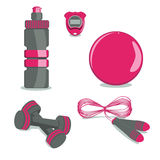 Sports Equipment. Vector.  Ball, Bottle, Stopwatch, Jump rope, D Royalty Free Stock Photography