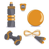 Sports Equipment. Vector.  Ball, Bottle, Stopwatch, Jump rope, D Stock Image
