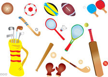 Sports equipment. A vector illustration of different sports equipment Royalty Free Stock Photography