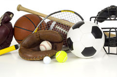 Sports Equipment on White stock photos