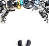 Sports equipment on a white background. Top view. Motivation. Copy space Royalty Free Stock Photo