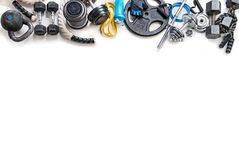 Sports equipment on a white background. Top view. Motivation. Copy space Royalty Free Stock Photos