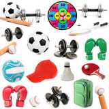 Sports Equipment on white stock images