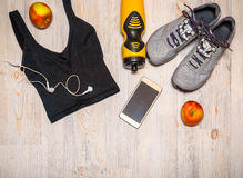Sports equipment on wooden background Stock Photo