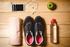 Sports equipment on the wooden floor Stock Image
