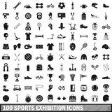 100 sports exhibition icons set, simple style Stock Photo