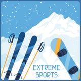 Sports extrêmes sur le fond de l'hiver de montagne illustration de vecteur