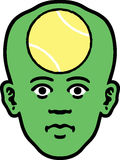 Sports Face. A man's head as an icon of a tennis ball inside it Royalty Free Stock Photo