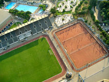 Sports facilities layout. In Egypt, football courts and swimming pool Royalty Free Stock Photos