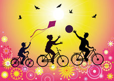 Sports family on bicycles. Vector silhouettes sports family with a child on the bike during the game on the decorative background Royalty Free Stock Images