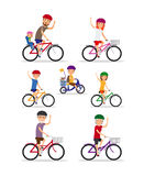 Sports family. Mom, Dad and kids ride bikes Stock Photo
