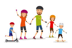Sports family. Mom, dad and kids roller skate Royalty Free Stock Images