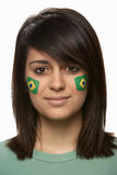 Sports Fan With Brazilian Flag Painted On Face royalty free stock photos