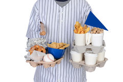 Sports Fan Carrying Food Drinks and Souvenirs Stock Photos