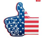 Sports Fan Foam Finger Like with USA Flag. Fan Foam Finger Like with USA Flag. Concept of sport or elections symbol. Vector Illustration Isolated on white stock illustration